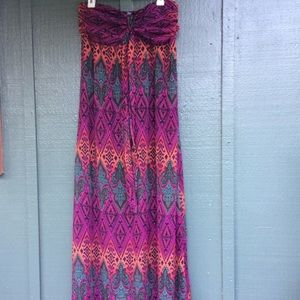 Xhilaration strapless multicolored maxi dress